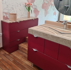Vasque en Lamellé Roches® et plan sur meubles sur mesure